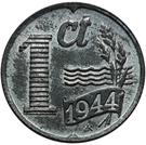 1 Cent - Wilhelmina (German Occupation) – reverse