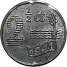 2½ Cents - Wilhelmina (German Occupation) – reverse