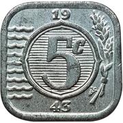 5 Cents - Wilhelmina I (German Occupation) – reverse