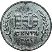 10 Cents - Wilhelmina (German Occupation) -  reverse
