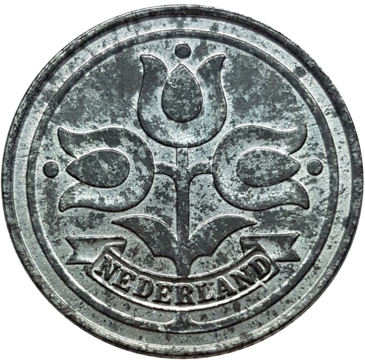 WWII #1 German Occupation Netherlands 1943-10 Cents Zinc Coin