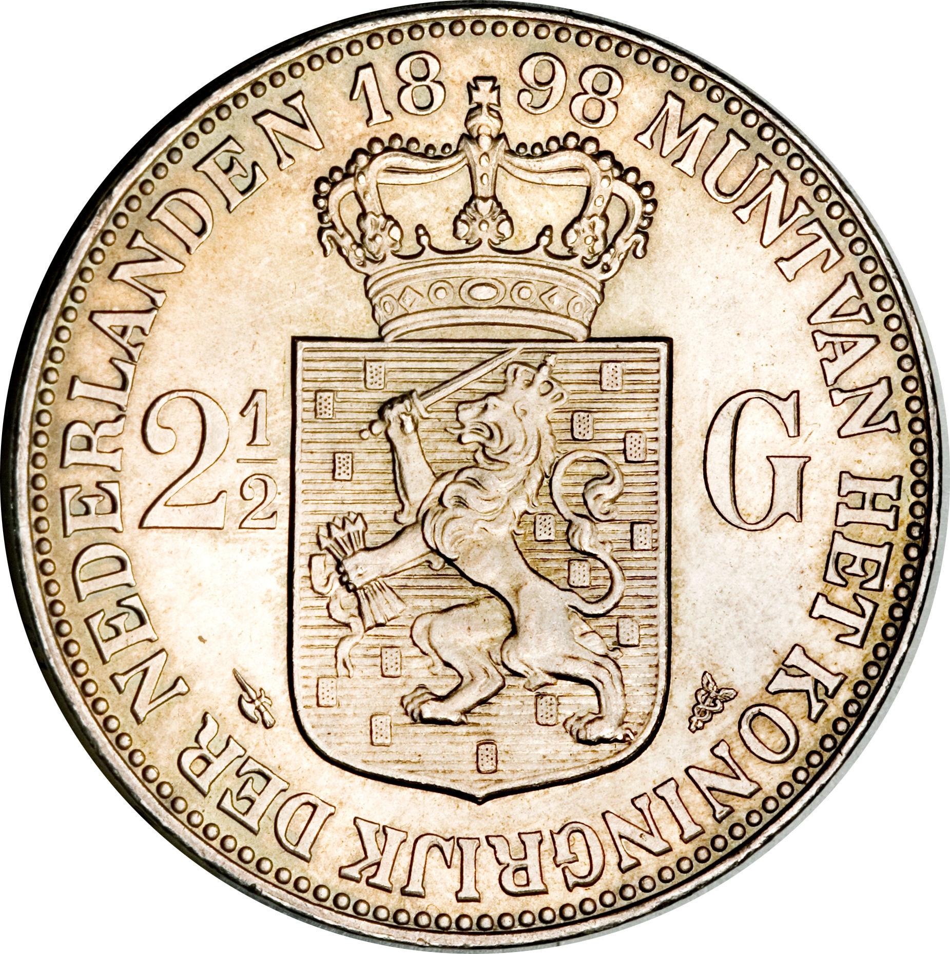 2 Gulden Wilhelmina Netherlands Numista