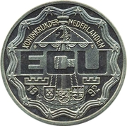 2½ ECU - Beatrix (12-1/2 Anniversary of Coronation and Visit to Aruba and the Netherlands Antilles) -  obverse
