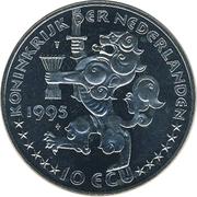 10 ECU - Beatrix (Wilhelmina - 40th Anniversary Liberation WWII) -  obverse