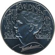 10 ECU - Beatrix (Wilhelmina - 40th Anniversary Liberation WWII) -  reverse