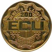 200 ECU - Beatrix (Christiaan and Constantijn Huygens) -  obverse