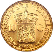 10 Gulden - Wilhelmina – reverse