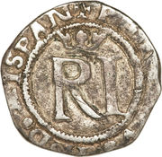 ½ Real - Felipe II (RI, with R) – obverse