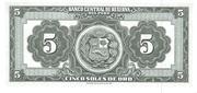 """5 Soles de Oro  1962-1968 """"Ley 13958 – reverse"""