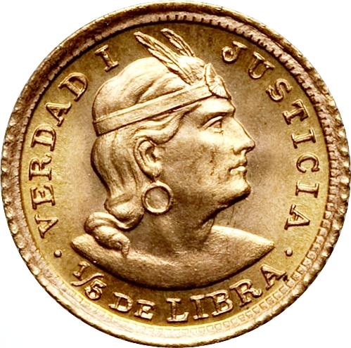 ⅕ Libra Trade Coinage Peru Numista