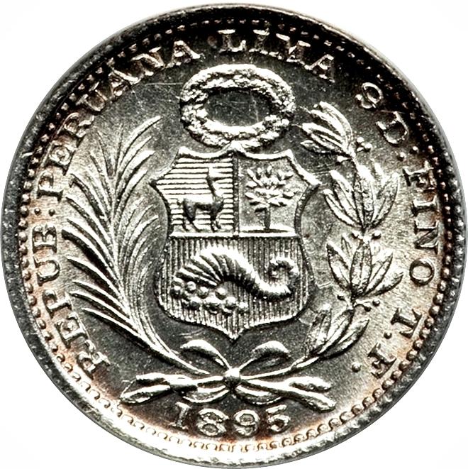 Peru 1//2 Dinero 1897 JF MS67 PCGS silver KM#206.2 1//2D Blast White 320K Mintage