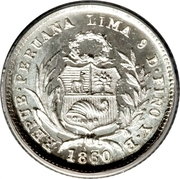 ½ Real (Transitional Coinage) – obverse