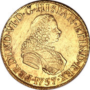 8 Escudos - Fernando VI (Colonial Milled Coinage) -  obverse