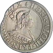 Teston - Henriette of Lorraine (Principality of Phalsbourg and Lixheim, hooded bust and shield version) – obverse