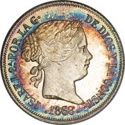 10 Centimos - Isabella II – obverse