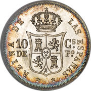 10 Centimos - Isabella II – reverse