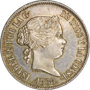 50 Centimos - Isabella II -  obverse