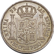 50 Centimos - Isabella II -  reverse