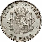 1 Peso - Alfonso XIII – reverse