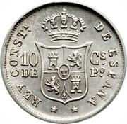 10 Centavos - Alfonso XII -  reverse