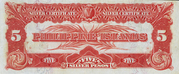 """5 Pesos (Silver certificate; without text after """"demand"""") – reverse"""