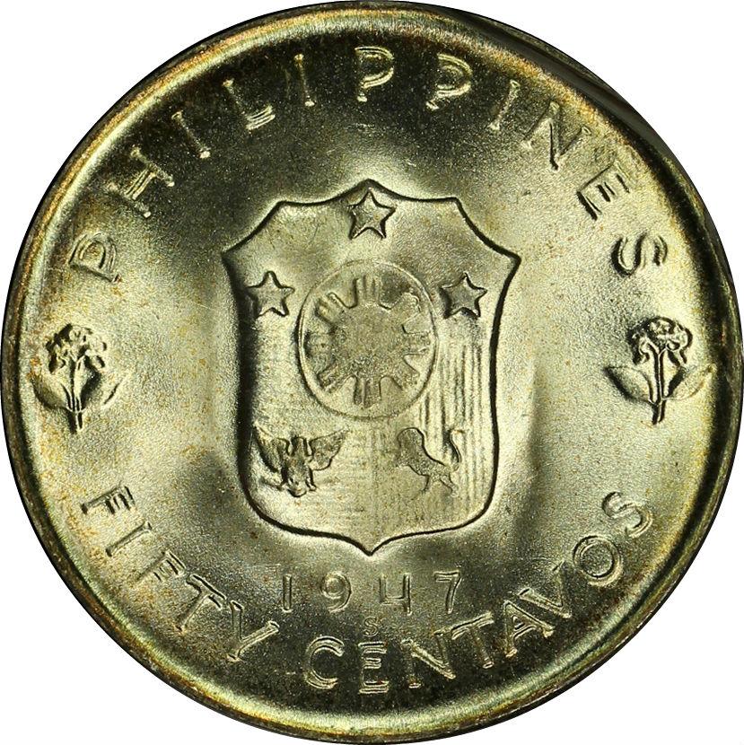 PHILIPPINES 50 CENTAVOS 1947 SILVER GEM BU MACARTHUR OLD PHOTO GRADING COIN