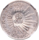 2 Reales - Isabel II (Counterstampled  on Mexico Guanajuato 2 Reales) – obverse
