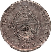 8 Reales - Isabel II (Counterstamp on Argentina 8 Reales) – reverse