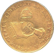 8 Escudos - Isabel II (counterstamped  on Mexico City Hand on Book 8 Escudos) – reverse