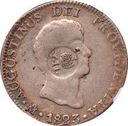 8 Reales - Isabel II ( Counterstamped Mexico Iturbide 8 Reales) – obverse