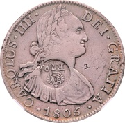 8 Reales (Ferdinand VII - Counterstamped Mexico 8 Reales) – obverse