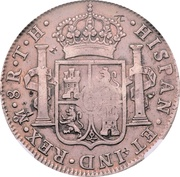 8 Reales (Ferdinand VII - Counterstamped Mexico 8 Reales) – reverse