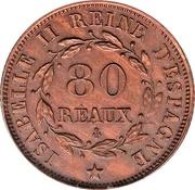 80 Reaux (Isabel II - Specimen) – obverse