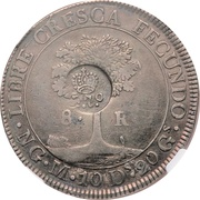 8 Reales - Ferdinand II (Counterstamp on Central American 8 Reales) – reverse