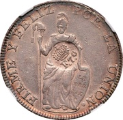 8 Reales - Ferdinand VII (Counterstamped on Peru Cuzco 8 Reales) – reverse