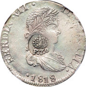 8 Reales - Ferdinand VII (Counterstamped Mexico 8 Reales) – obverse