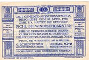 60 Heller (Pichl bei Windischgarsten; Blue issue) -  reverse