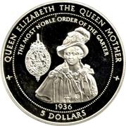 5 Dollars - Elizabeth II (The Queen Mother) – reverse