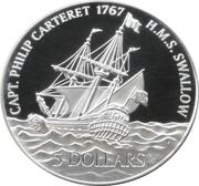5 Dollars - Elizabeth II (H.M.S. Swallow) – reverse