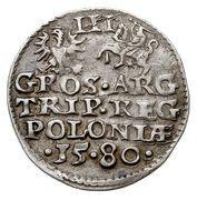 Trojak koronny - Stefan Batory (Olkusz mint) – reverse