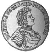 Gulden - 2/3 Talara - August II Mocny (Lipsk mint) -  obverse