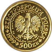 500 Złotych (White-tailed Eagle; Gold Bullion) – obverse