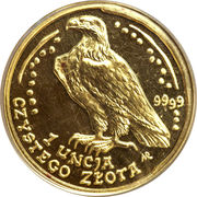500 Złotych (White-tailed Eagle; Gold Bullion) – reverse