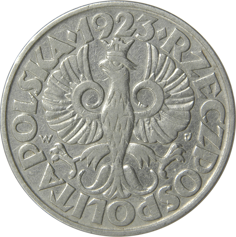 Old Poland Coin 1923 50 Groszy Circulated