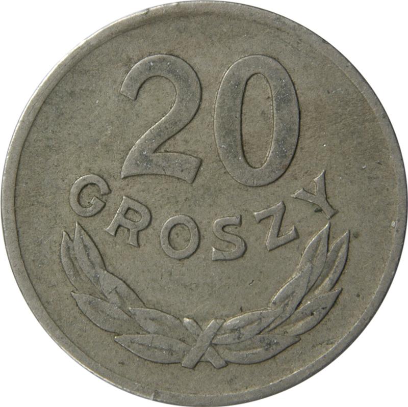 RARE POLAND 20 GROSZY 1949 COPPER-NICKEL TYPE