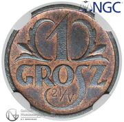 1 Grosz (Trial Strike 21/V under O in Grosz) – reverse