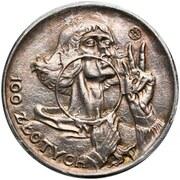 100 Złotych (Mikołak Kopernik; Trial Strike Ag smaller type) – reverse
