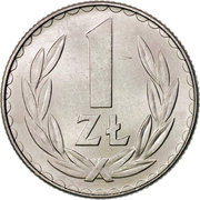 1 Złoty (large type; large date) -  reverse