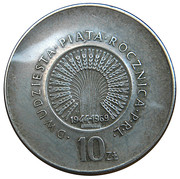 10 Złotych (25 Years of People's Republic of Poland) -  reverse