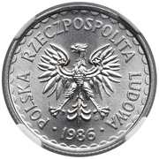 1 Złoty (large type; small date) -  obverse